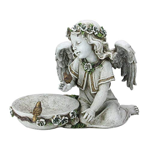 14″ Joseph's Studio Solar Powered Bird Bath Angel Outdoor Garden Statue