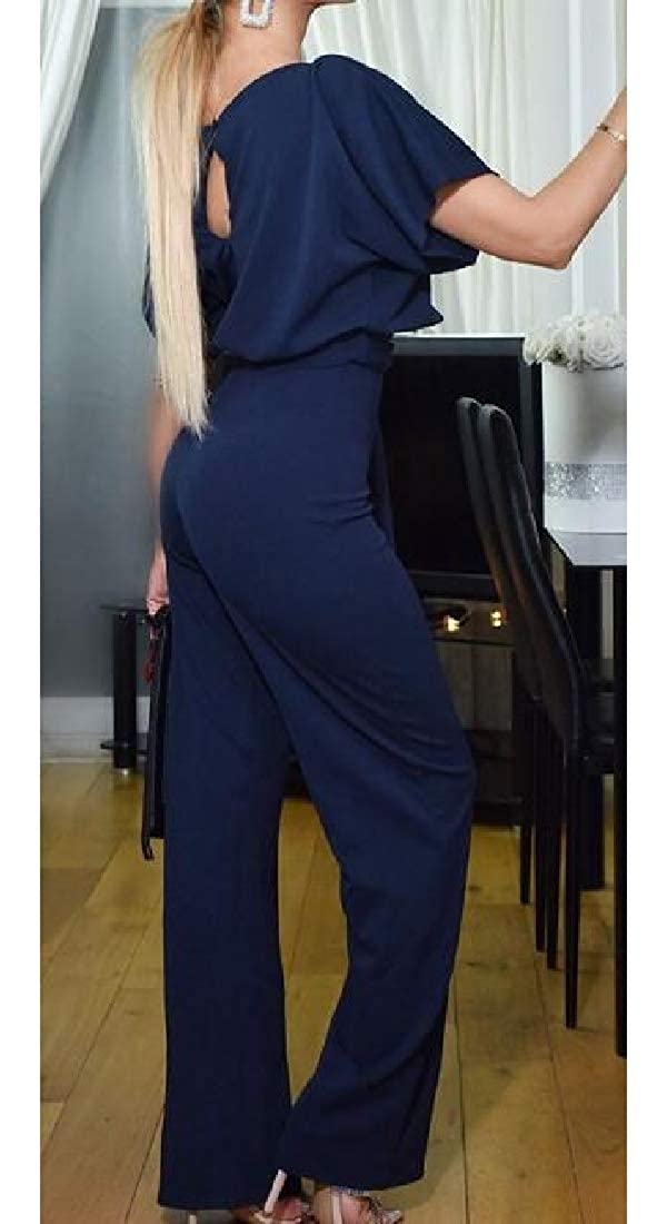 MOUTEN Women Summer Short Sleeve Belted Solid Color Party OL Long Pants Jumpsuit Romper