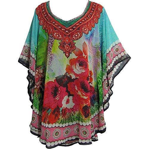 Yoga Trendz Bohemian Beaded Floral Paisley Digital Print Swirly Georgette Blouse Top Poncho (No4) ()