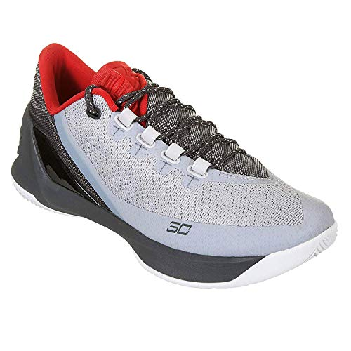Under Armour Curry 3 Low Big Kids Basketball Shoes (4 M US Big Kid, Grey/Steel/Red)