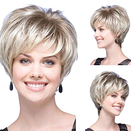 FORUU Wigs, 2019 Valentine's Day Surprise Best Gift For Girlfriend Lover Wife Party Under 5 Free delivery Women Natural Short Wavy White Gradient Wig Rose Net Synthetic Curly -