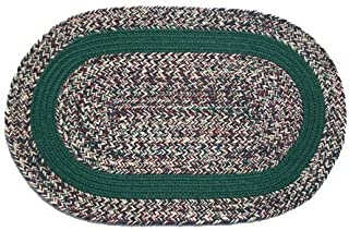 product image for Oval Braided Rug (3'x5'):Oatmeal Dark Green,- Dark Green Band