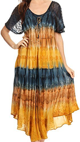 Sakkas 17506 - Sula Tie-Dye Wide Neck Embroidered Boho Sundress Caftan Cover Up - Navy/Brown - OS