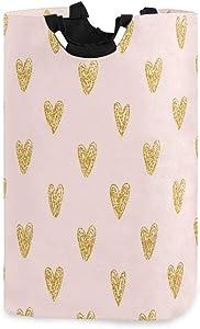 senya Rose Gold Love Heart Laundry Basket Collapsible Laundry Hamper with Handle Foldable Laundry Bin