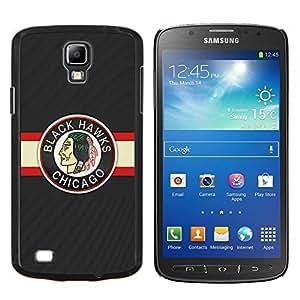 Qstar Arte & diseño plástico duro Fundas Cover Cubre Hard Case Cover para Samsung Galaxy S4 Active i9295 (Halcón Negro Hockey sobre hielo)