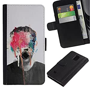 All Phone Most Case / Oferta Especial Cáscara Funda de cuero Monedero Cubierta de proteccion Caso / Wallet Case for Samsung Galaxy Note 4 IV // Abstract Art Monster Paint Photo Man