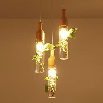 YJLIGHT Pendelleuchte Hängeleuchte Romantische Modern Holz Glas ...