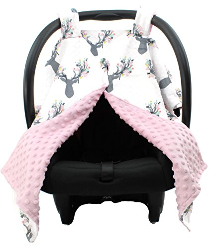 Gear Custom (Dear Baby Gear Deluxe Carseat Canopy, Custom Minky Print Girl Antler Flowers, Pink Minky Dot)