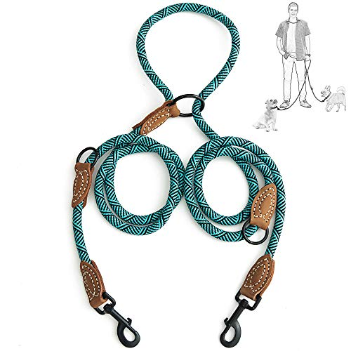 - Mile High Life | Double Dogs Leash | Multiple Configurations | Leather Tailor Reinforce Handle Mountain Climbing Rope 8FT with Heavy Duty Metal Sturdy Clasp (Turquoise Green)