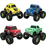 Toys : TOYK 4 Pack Alloy Friction Pull Back Cars  4 Independent Shock Springs  for Toddler Boys Girl Baby Mini Toys Cars