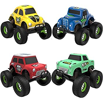 TOYK 4 Pack Alloy Friction Pull Back Cars  4 Independent Shock Springs  for Toddler Boys Girl Baby Mini Toys Cars
