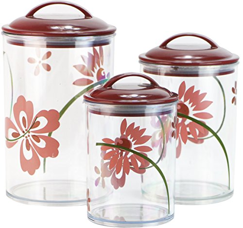Corelle Coordinates by Reston Lloyd Acrylic Storage Canisters, Set of 3, Pretty Pink Clear Acrylic Canister Set