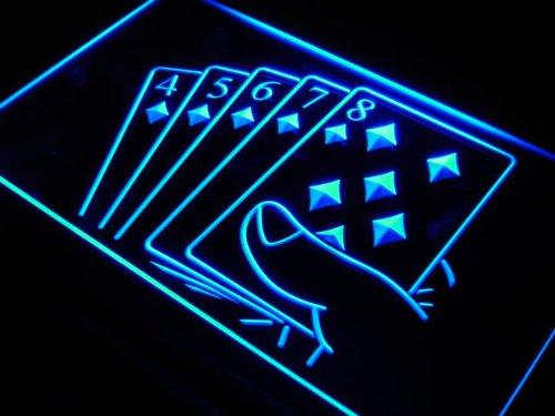 ADV PRO j428-b Straight Flush Poker Casino Game Neon Light Sign - Neon Casino Light