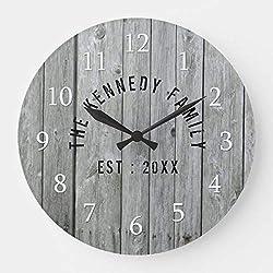 OSWALDO Gray Wood Farmhouse Family Name Decorative Round Wooden Wall Clock - 12 inch