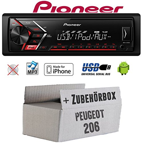 Peugeot 206 - Autoradio Radio Pioneer MVH-S100UI - | MP3 | USB | Android | iPhone Einbauzubehö r - Einbauset JUST SOUND best choice for caraudio Peu206_MVH-S100UI