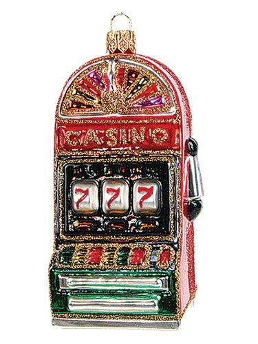 Casino Las Vegas Glass (Casino Slot Machine Polish Blown Glass Christmas Ornament Las Vegas)