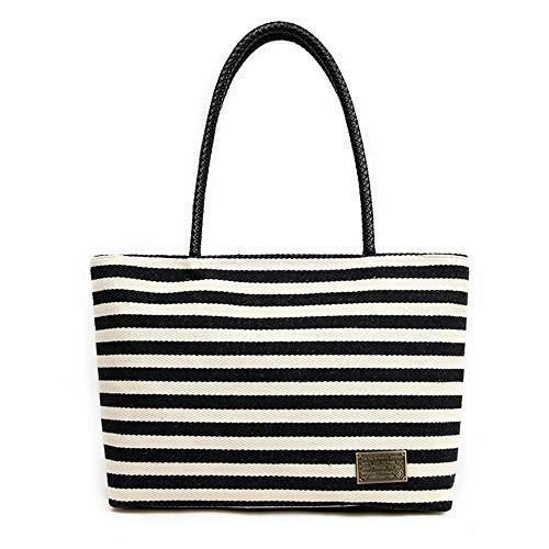 Striped Women Ladies Canvas Shoulder Tote Handbag Travel Handbags For Shopper Daily Purse Tote Bag Shopper Bag Vacation Bag Travel Beach Bag Cloth Bags Women Striped Canvas Tote Bag Vacation Beach Bag