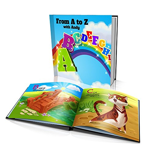 Personalized Story Book by Dinkleboo -From A to Z - For Kids Aged 2 to 10 Years Old - Makes Learning Alphabet Fun and Engaging - Printed on Smooth Satin Paper - Soft Cover (8