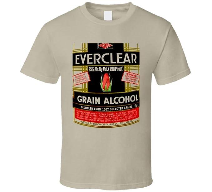 Everclear Grain Alcohol Proof Drinks T Shirt L Tan: Amazon