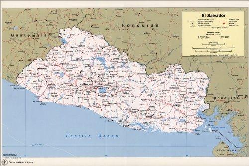 - 16x24 Poster; Cia Map Of El Salvador 1980
