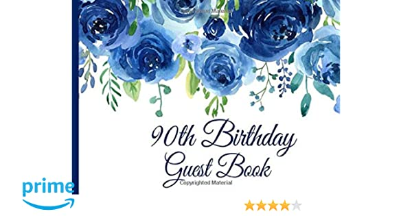 90th Birthday Guest Book Sign In Guests at Birthday Parties Purple Floral 90th Birthday Guest Book for Women with Gift Log