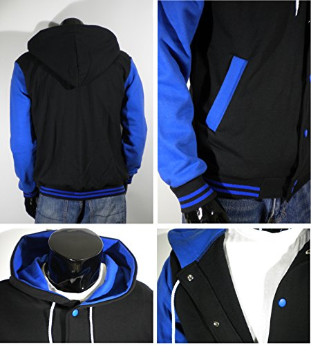 U World Men's Hoodie Cotton Baseball Varsity Jacket Blue at Amazon ...