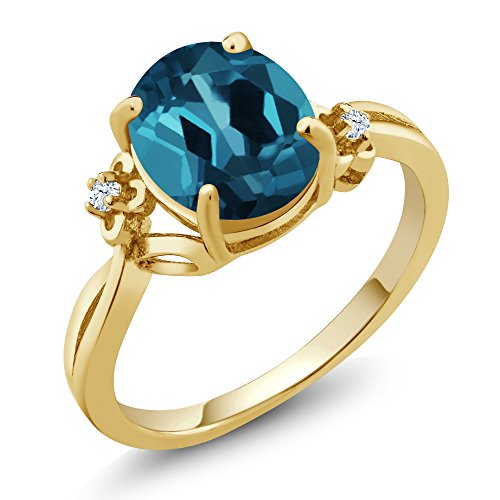 2.83 Ct Oval London Blue Topaz 14K Yellow Gold Ring (Ring Size 6) 14k Yellow Gold Mothers Ring