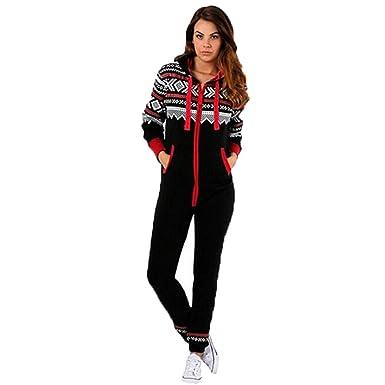 Jumpsuit Weihnachten.Wawer Damen Jumpsuit Mit Kapuze Pyjamas Weihnachten