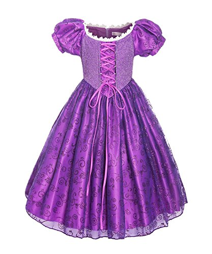 ReliBeauty Girls Princess Tangled Rapunzel Lace up Dress Costume, 10-12/150 -