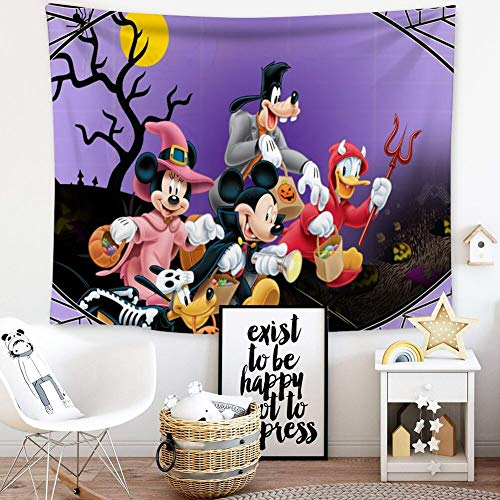 Donald Duck Halloween Hd (DISNEY COLLECTION Tapestry Halloween Mickey Mouse and Minnie Mouse Goofy Donald Duck Pluto Disney Halloween Wallpaper Tapestry for Living Room Bedroom Dorm Home Decor 80 Inch60)