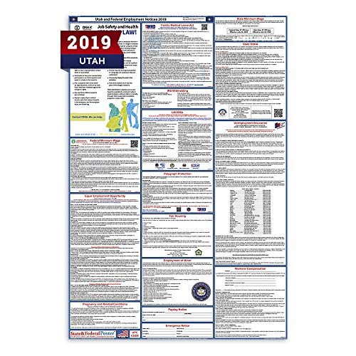 """2019 Utah Labor Law Posters (Laminated) All-in-One State and Federal Approved, OSHA Compliant Vertical 27""""x40"""" [UT2-27X40-ENG]"""