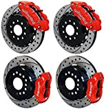 """NEW WILWOOD FRONT & REAR DISC BRAKE KIT, 13"""" & 12"""" DRILLED ROTORS, RED CALIPERS WITH PARKING BRAKE, PADS, 2005 - 2014 FORD MUSTANG BASE, BOSS 302, BULLIT, GT, GT500, SHELBY, 2005 2006 2007 2008"""