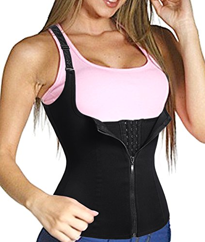 Women Body Slimmer Fat Burner Waist Trainer Corset Body Shaper Vest Workout Top (XL, Black)