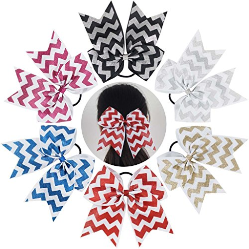 ter Chevron Cheer Bow Ponytail Holder Hair Tie Cheerleading Teens Set of 6 (Black Glitter Bow)