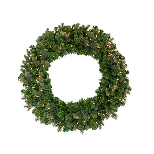 Northlight Pre-Lit Savannah Spruce Artificial Christmas Wreath - 36-Inch, Clear Lights