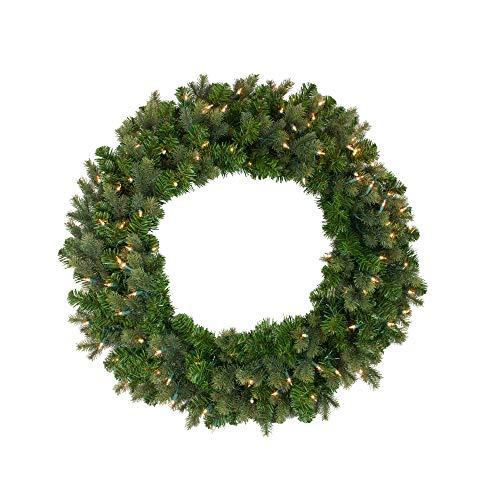 Northlight Pre-Lit Savannah Spruce Artificial Christmas Wreath - 36-Inch, Clear Lights ()