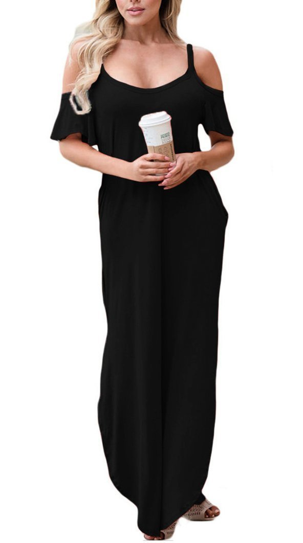 GOCHIC Women's Cold Shoulder Casual Spaghetti Strap Party Long Maxi Dress Black with Pockets XXL
