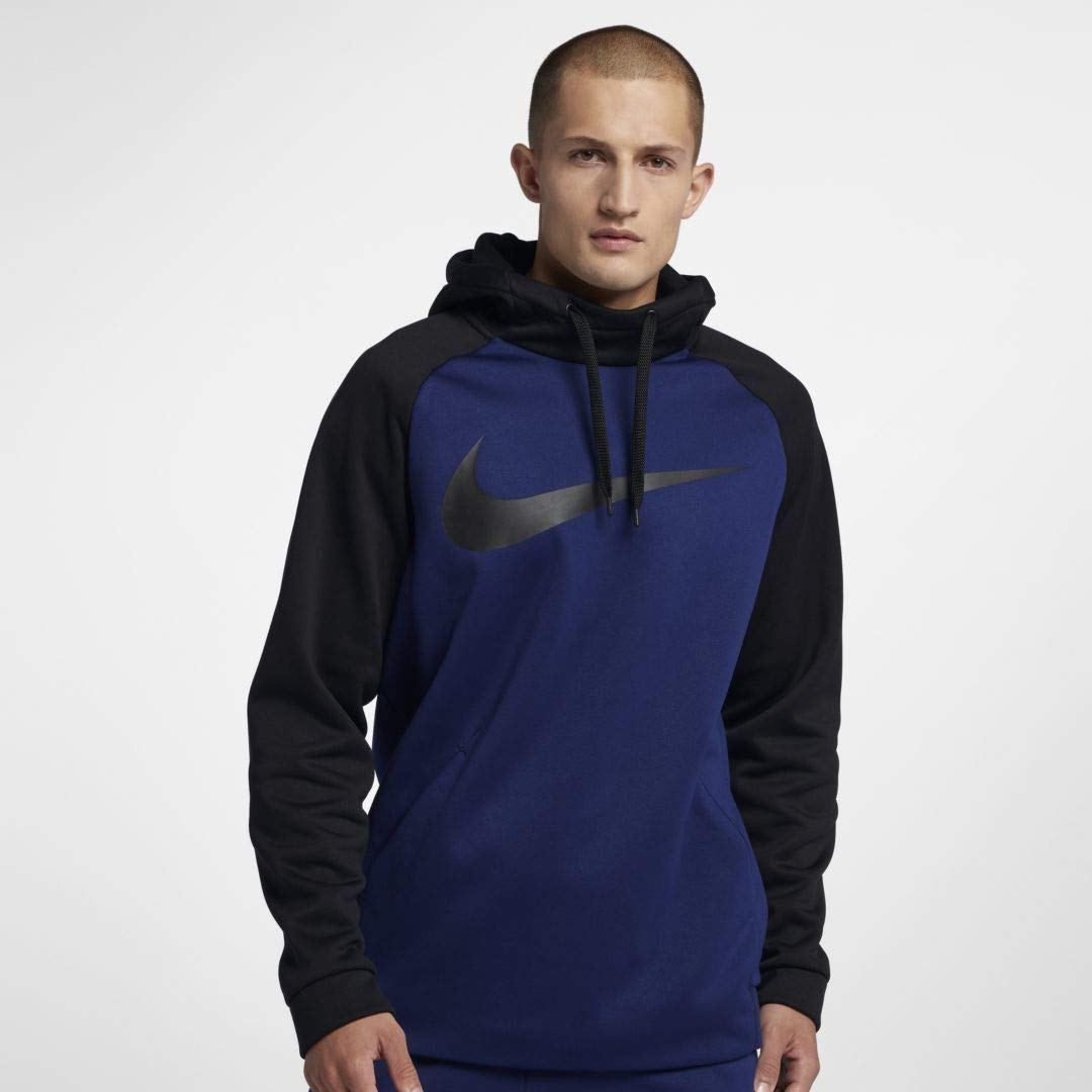Nike Mens Therma Swoosh Essential Pull Over Hoodie Blue Void/Black 931991-478 Size Small by Nike