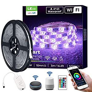 LE LED Strips Lights, Alexa Voice Control, Lampux Smart WiFi Wireless APP Control, Compatible with Alexa & Google Home, Decoration for Christmas, Wedding, Party and More(2.4GHz Only)