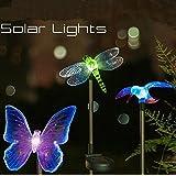 Esky® Luci LED Esterne Multicolore a Forma di Colibrì, Farfalla e Libellula Alimentate a Luce Solare con Fusto per Decorazione Giardini