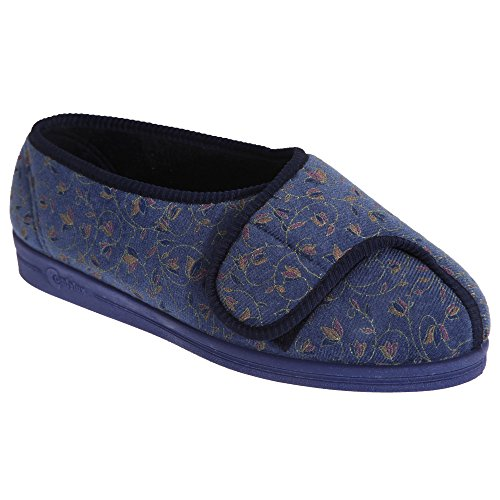Comfylux Womens / Ladies Helen Floral Supergrote Slippers Wijn