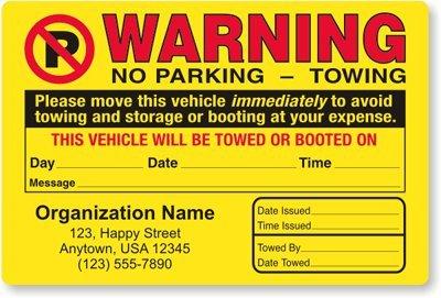 "Warning (with No Parking Symbol) No, Fluorescent Orange Paper Labels, 24 Labels/pack, 7.8"" x 4.8"""