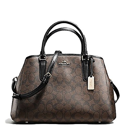 COACH SIGNATURE SMALL MARGOT CARRYALL IN BROWN/BLACK IM/AA8 by Coach