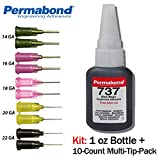 Permabond 737 (1oz Bottle+Tip Multipack) Adhesive-Black Magic Gel-Toughened & Flexible Temp-Resistant-Gap Filling