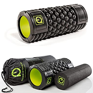 Peace of Muscle Premium Foam Roller Set:  Honeycomb  Muscle Roller & Solid Smooth Roller w/ FREE Travel Bag * Instructions Included * For Physical Therapy & Muscle Massage