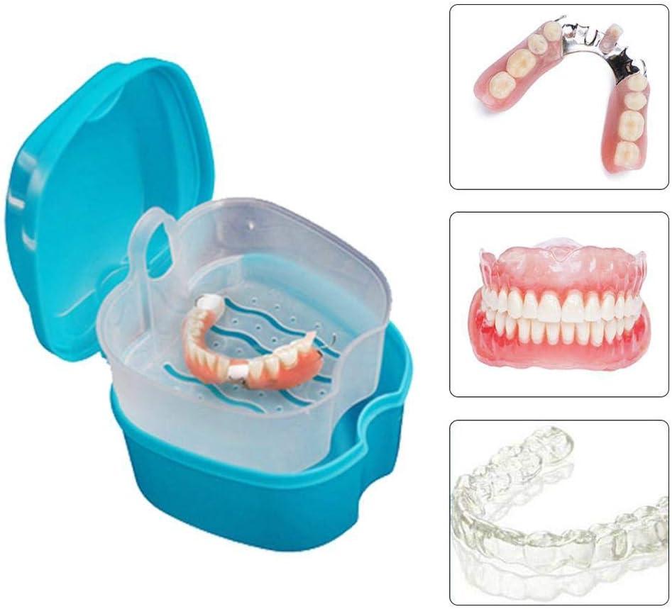 Caja de Baño para Dentadura Postiza,Caja de Baño para Dentadura Postiza Dental con Contenedor de Red Colgante(Azul Claro): Amazon.es: Salud y cuidado personal
