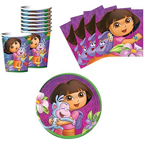 (Designware Dora The Explorer Birthday Party Supplies Set Plates Napkins Cups Kit for 16 )