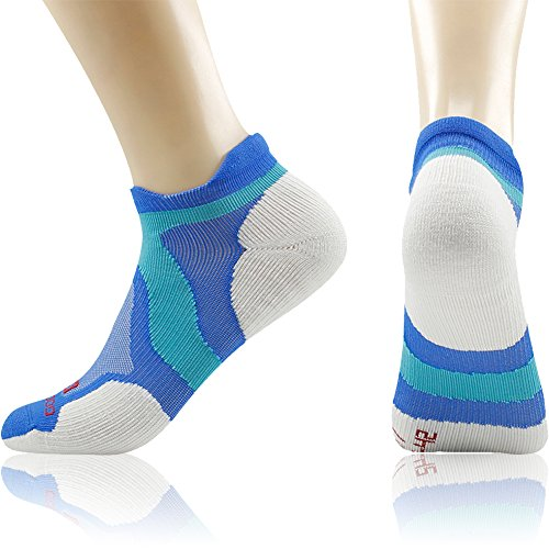Merino Wool Tab Ankle Running Socks, ZEALWOOD Unisex Performance No-Show Athletic Quarter Sock, Gym Socks, Light Weight Socks,Dry Hiking/Outdoor Socks-Blue/White,Small by ZEALWOOD (Image #9)