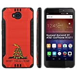 [Mobiflare] Huawei Ascend XT [AT&T H1611] Shock Proof Armor Phone Cover [Black/Black] Defender Protective Case - [Don't Tread On Me] for Huawei Ascend XT [AT&T GoPhone H1611] [6' Screen]