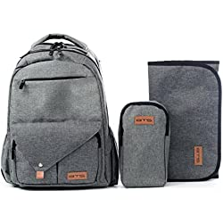 3 in 1 Multi-Function Large Baby Diaper Bag Backpack W/Changing Pad/Mini Bag- Travel Friendly, Stroller Straps, Insulated Pockets-Stylish, Durable with Anti-Water Material (Grey)